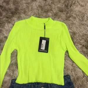 PrettyLittleThing Tops - Neon lime high lighter crop top